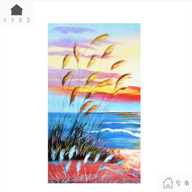 北欧玄关装饰画画芯打印手绘风格油画湖边芦苇彩色云朵挂画定制1