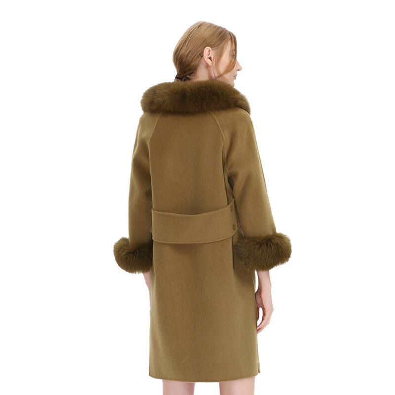 欧美双面羊绒大衣秋冬新款纯色修身毛领长袖毛呢外套女