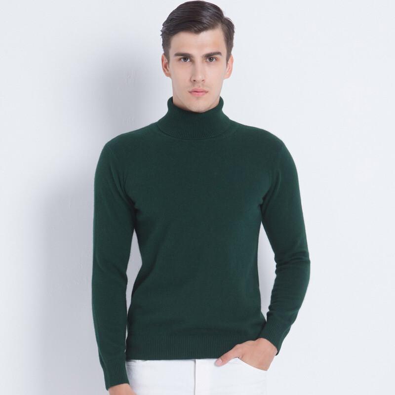 秋冬男士高领毛衣针织衫男青年韩版修身纯色保暖羊绒衫潮
