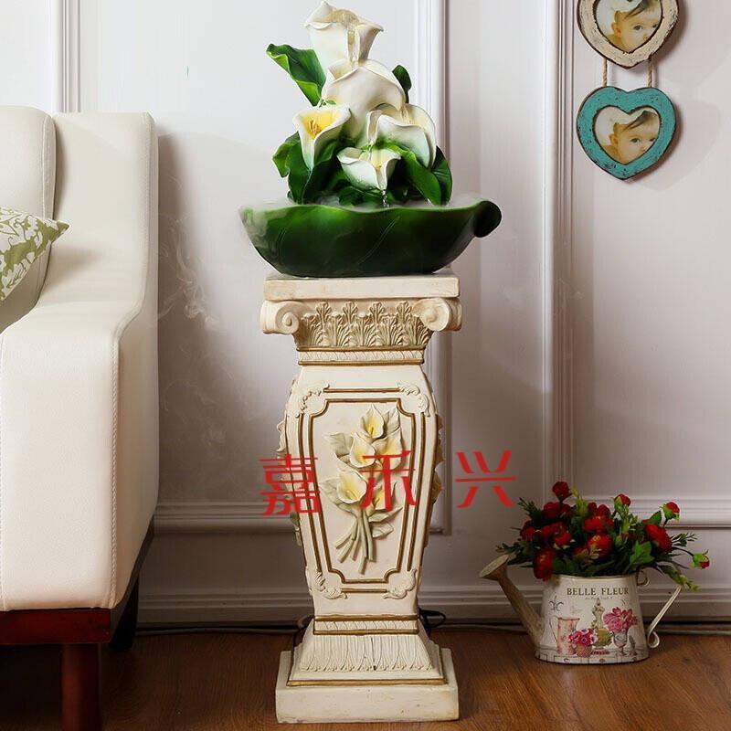 马蹄莲罗马柱花盆流水喷泉花架树脂欧式客厅装饰摆件婚庆路引柱子大号