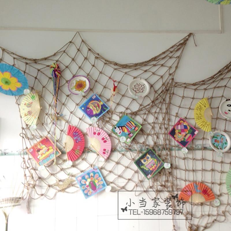 幼儿园装饰麻绳编织网创意装饰网农家风鱼网编织网挂饰空中吊饰