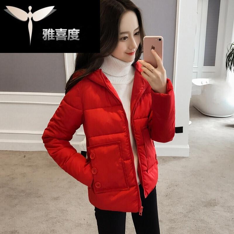 新款韩版短款棉衣百搭冬装可爱外套女学生棉服时尚面包服连帽原宿