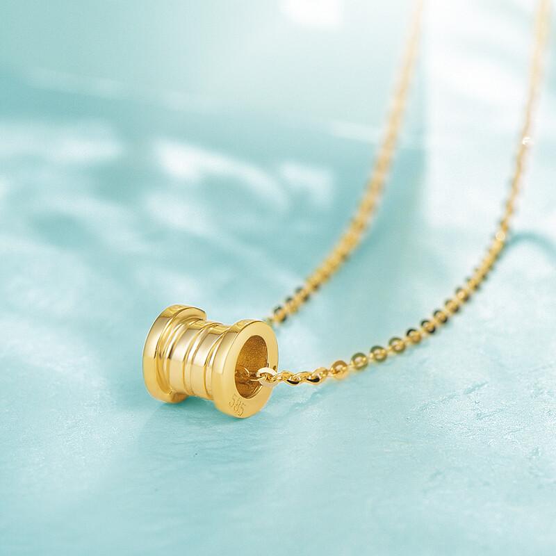 乐橙首饰2018新14k金项链幸运转运珠吊坠彩金套链女个性几何圆形黄金