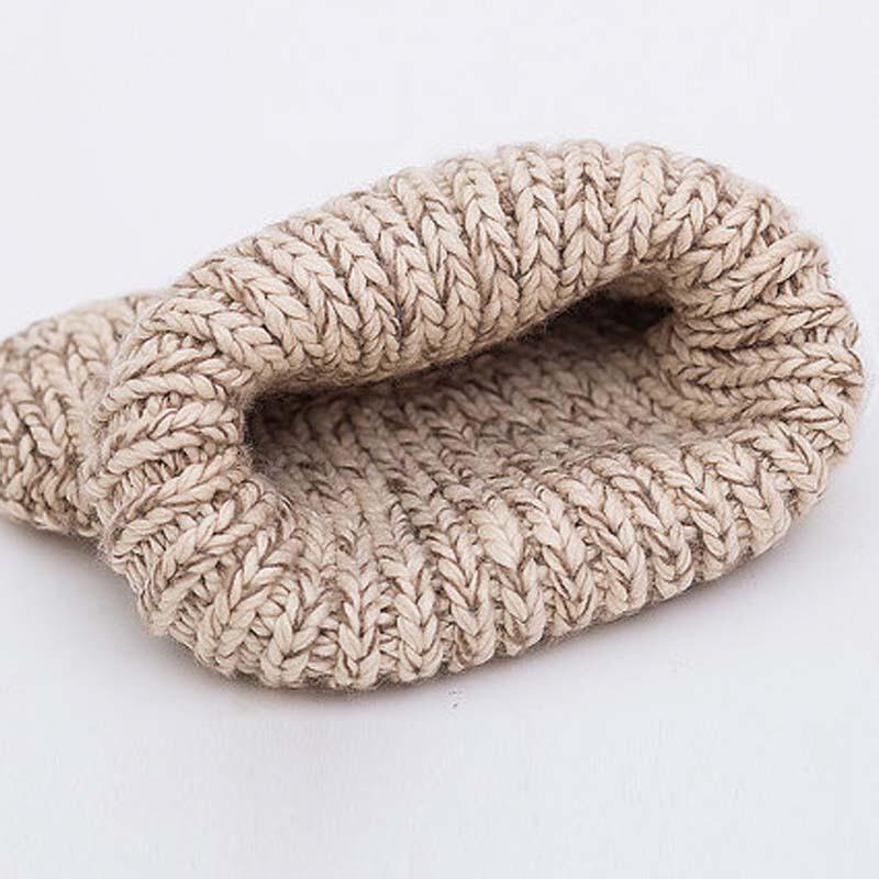 冬季可爱恶魔角猫耳朵女士秋冬天毛线厚保暖针织帽子米白混可调节