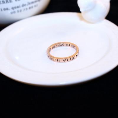 欧美潮人罗马数字食指戒指女 日韩简约个性指环钛钢戒指