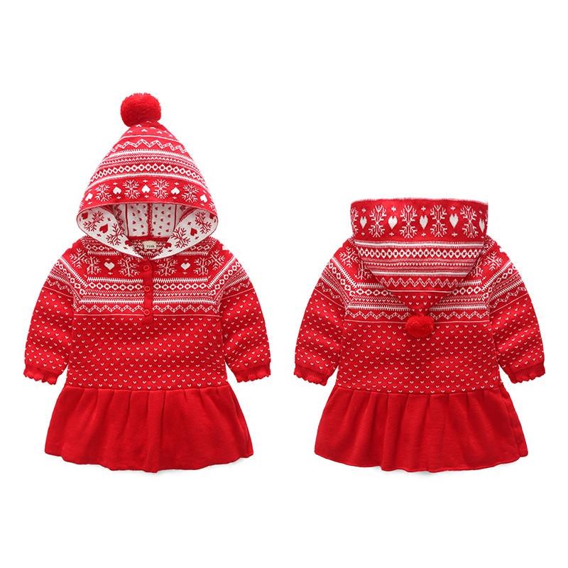 促销女童毛衣裙冬纯棉双层保暖宝宝裙子秋冬红色可爱0