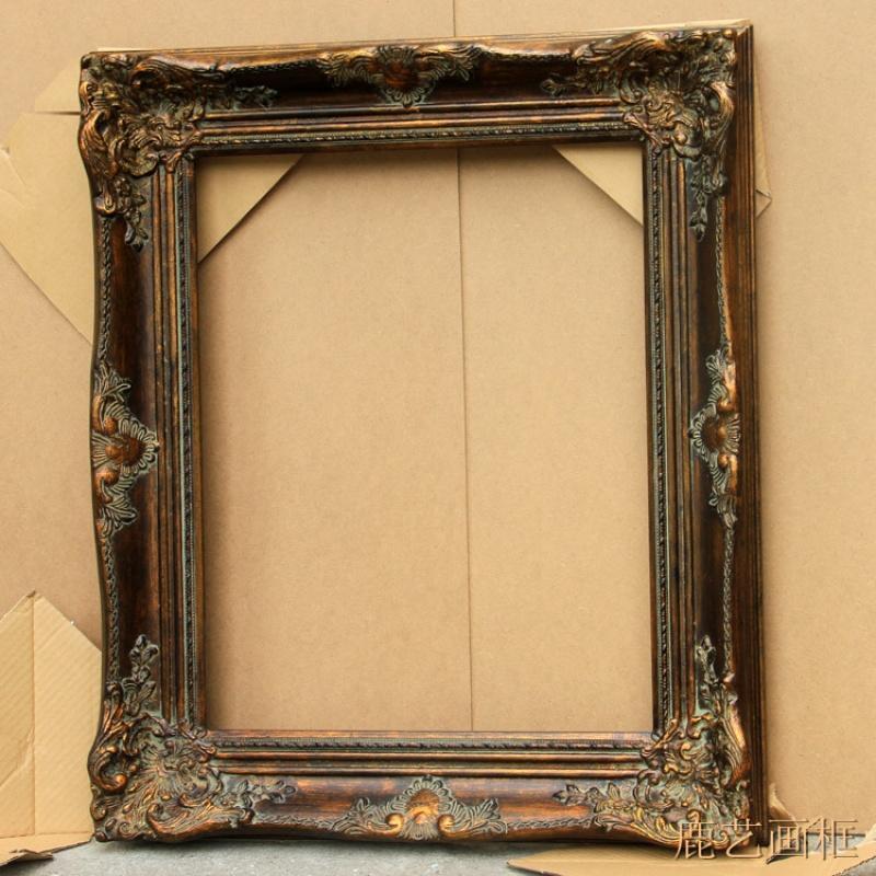 欧式实木角花框定制油画暗金色镜框画框相框宽度9.5cm