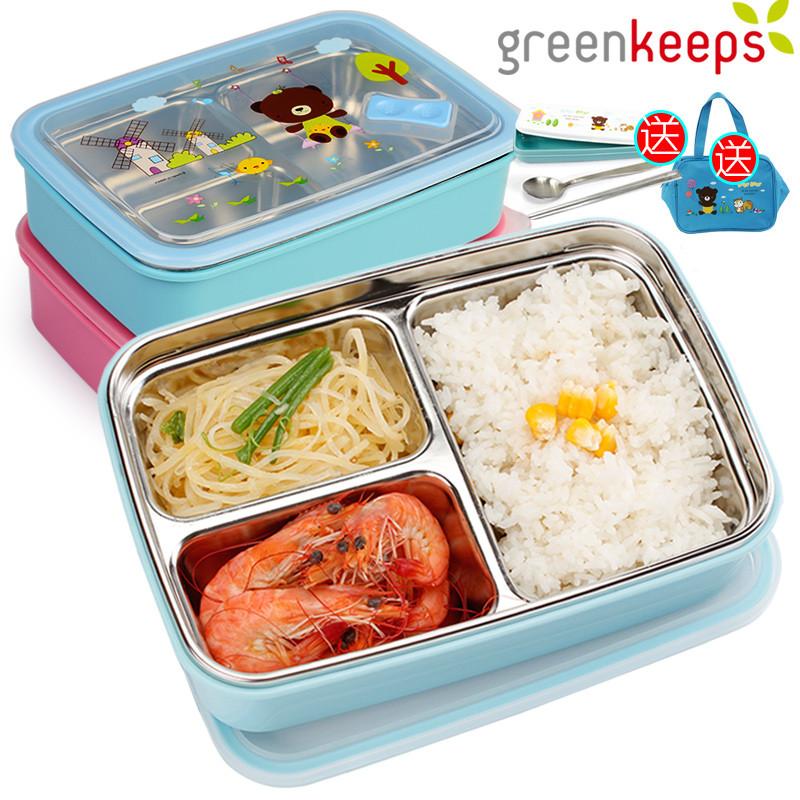 韩国304不锈钢便当盒分格小学生饭盒儿童餐盘保温餐盒
