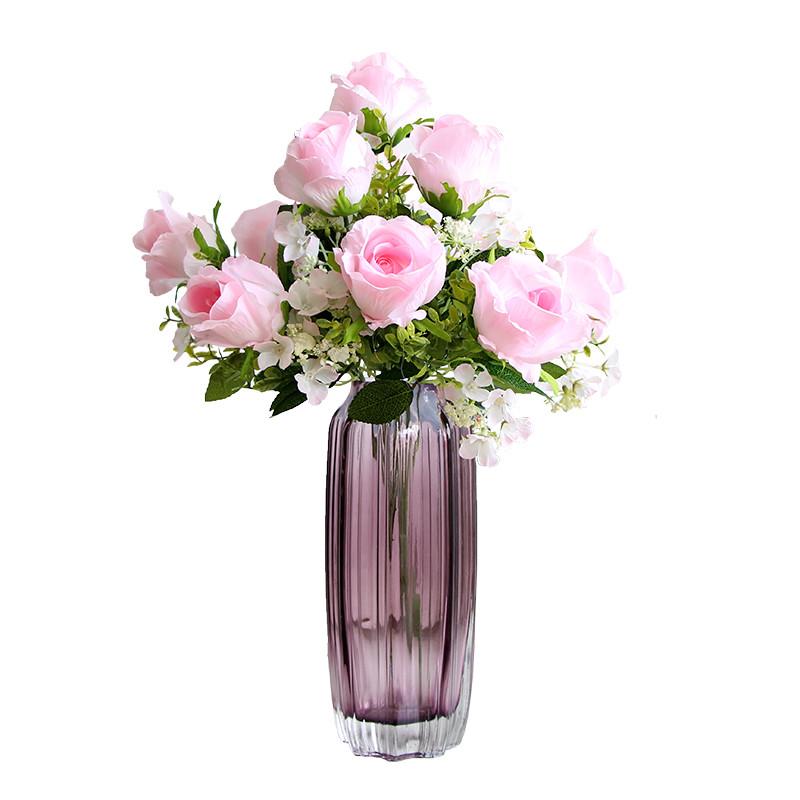 11头仿真玫瑰花束 欧式客厅卧室办公桌装饰摆件假花绢花插花