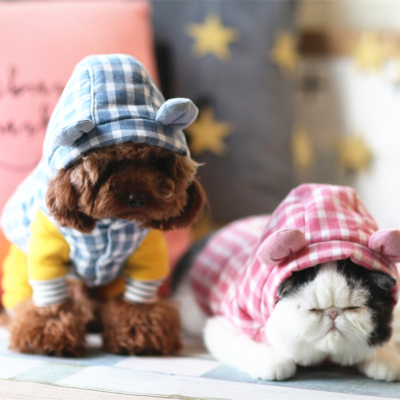 狗狗衣服冬装 宠物可爱格子棉袄背心 泰迪比熊猫咪棉服保暖