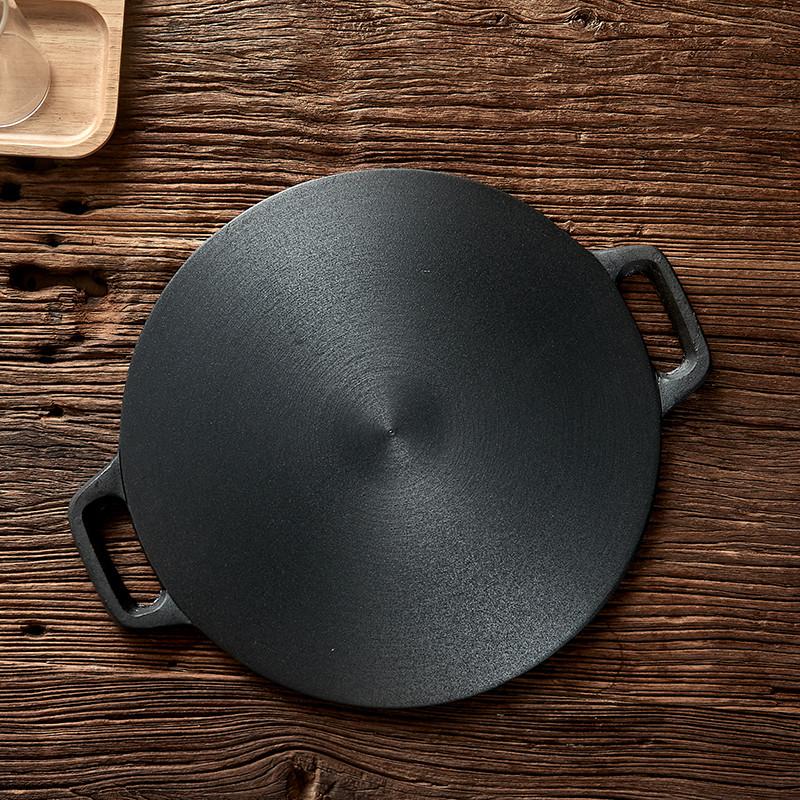 加厚铸铁山东杂粮煎饼鏊子煎饼锅商用家用平底锅燃气用不粘平板图片