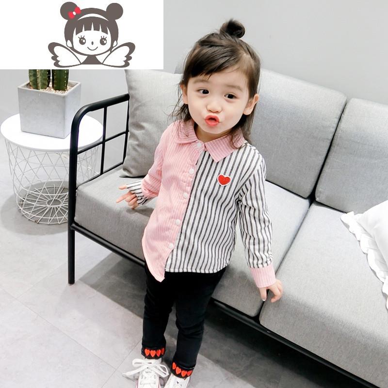 女童装加绒衬衫2017秋冬新款儿童韩版可爱女宝爱心竖条纹拼接衬衫