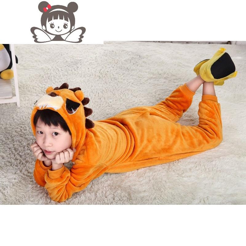 可爱儿童卡通连体睡衣男女动物演出服法兰绒如厕版狮子演出服