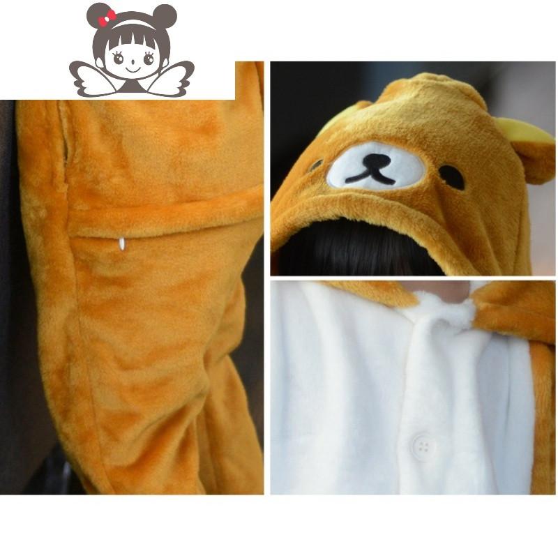 秋冬款儿童恐龙连体睡衣女童小男孩可爱小熊卡通动物法兰绒