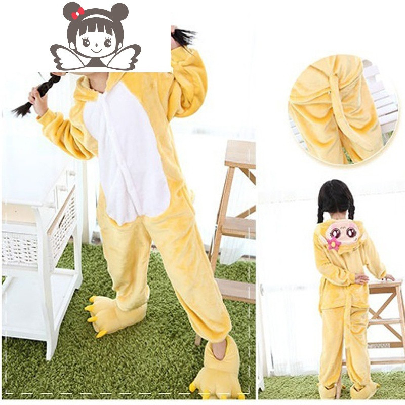 法兰绒卡通动物连体睡衣儿童如厕版嘻哈猴家居表演服