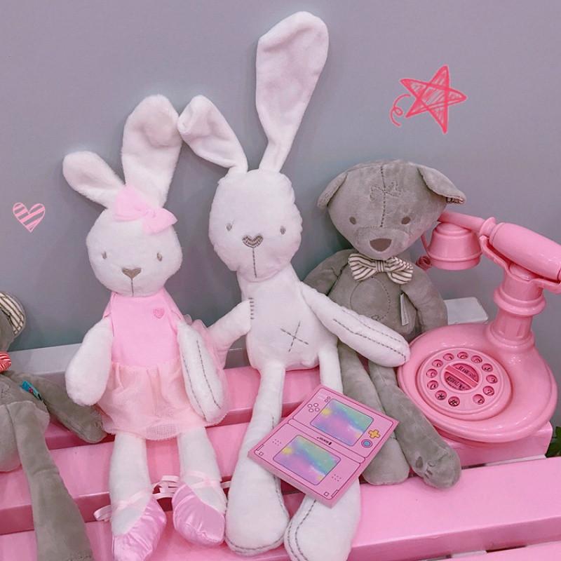 可爱卡通长耳朵兔子小熊公仔安抚娃娃毛绒玩偶抱枕少女心礼物