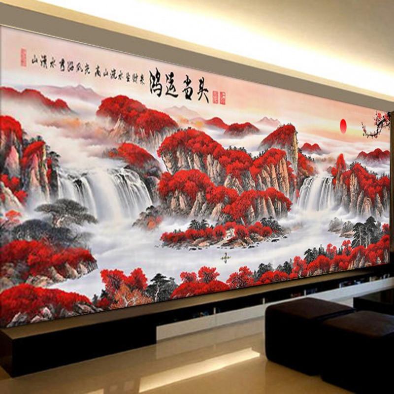 鉆石畫十字繡客廳滿鉆流水生財聚寶盆大幅點鉆風景山水畫