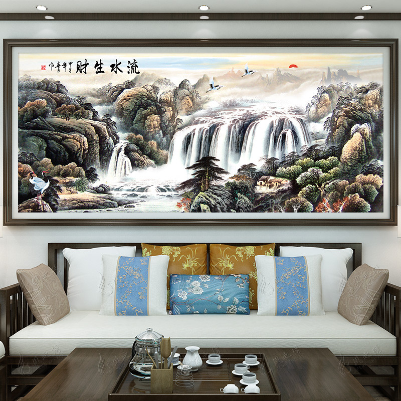 流水生財十字繡線繡2018大幅客廳中國風景古典刺繡山水畫滿繡