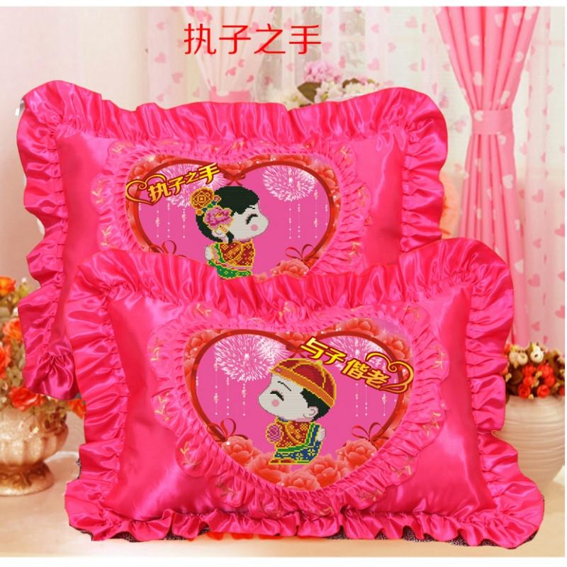 十字绣抱枕情侣一对简单绣卧室枕头套鸳鸯幸福约定花卉牡丹