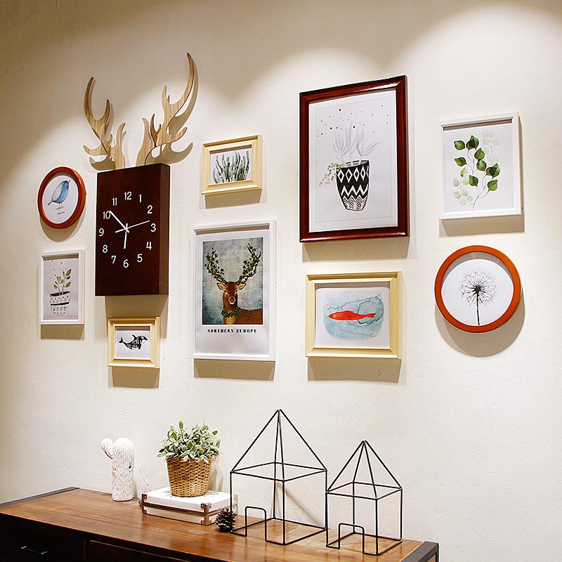 北欧照片墙装饰画客厅美式鹿钟表组合创意家居餐厅小清新相框墙画