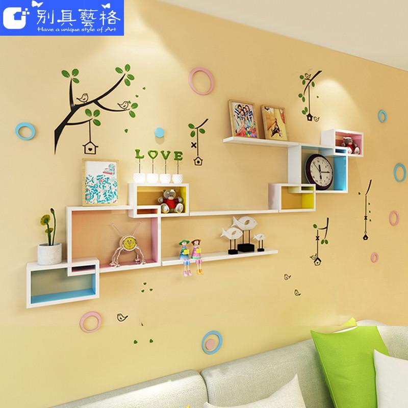 墙上置物架客厅背景墙面创意格子隔板影视墙壁挂房间卧室装饰搁板图片
