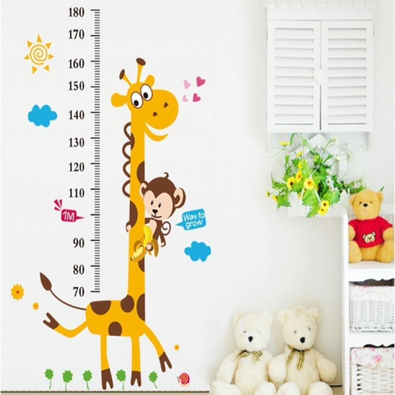 儿童房间卧室墙壁卡通长颈鹿测量身高贴纸宝宝升高尺墙贴画可移除