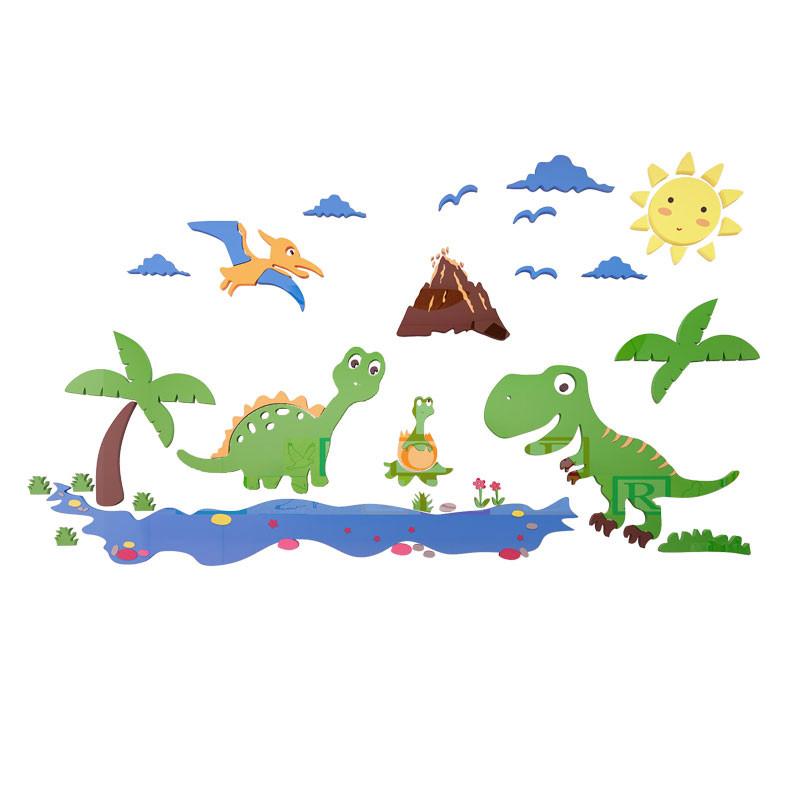 恐龙部落3d立体墙贴幼儿园墙面装饰墙贴画儿童房男孩卧室墙壁贴纸