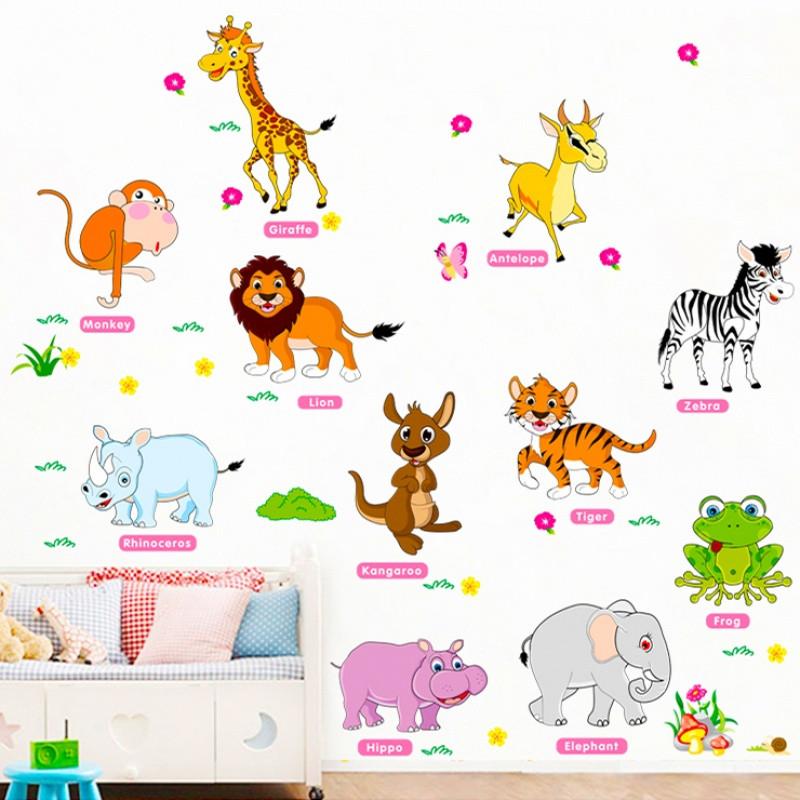 卡通动物英文字母宝宝贴画早教墙贴纸启蒙儿童幼儿园装饰教室布置