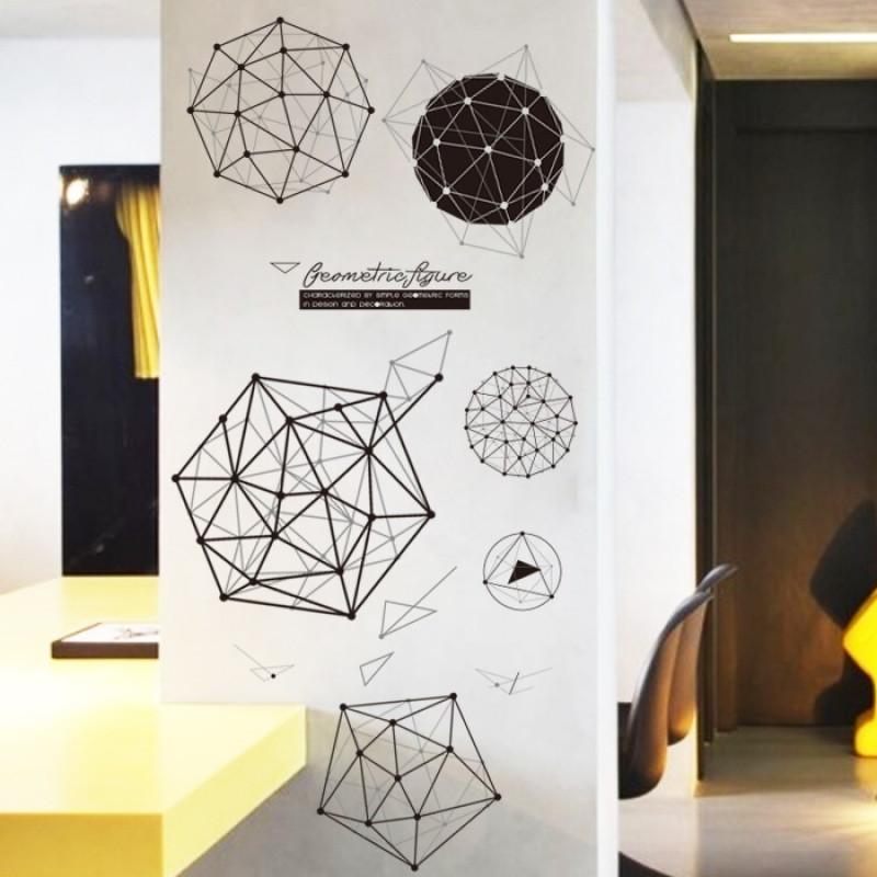 创意几何立方体个性图案宿舍墙贴纸时尚现代客厅走廊墙壁贴画图片