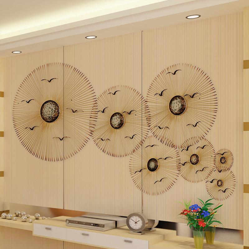 新中式鐵藝掛件創意家居壁飾電視背景墻裝修飾品客廳墻面裝飾壁掛