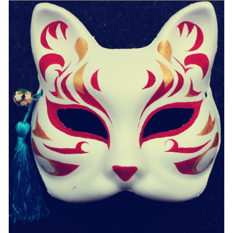 和风手绘 半脸纸浆面具 动漫妖狐coplay 狐狸面具 送流苏铃铛