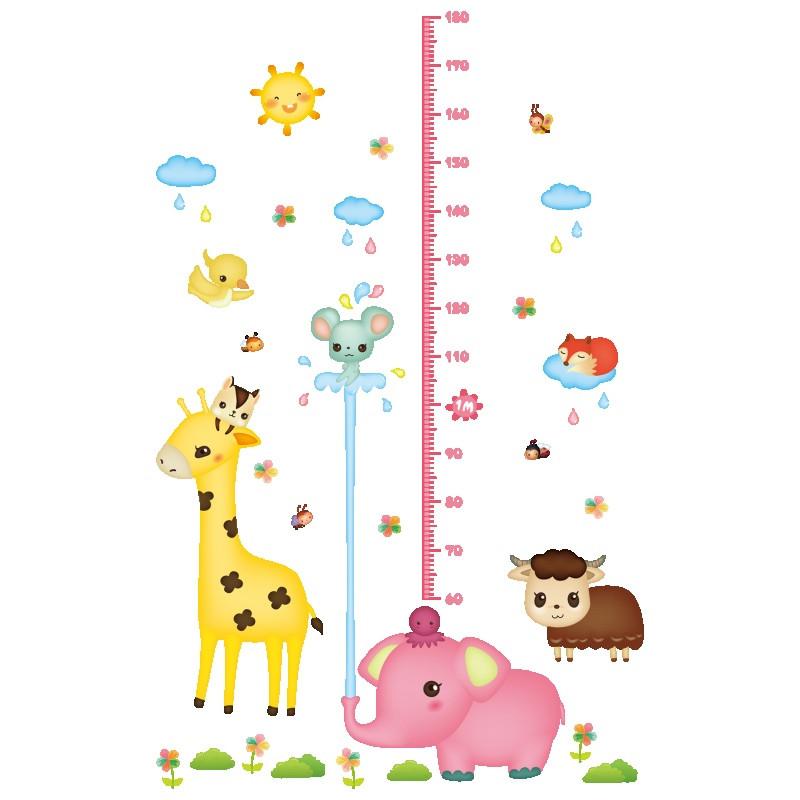 儿童房间可爱卡通贴画小孩测量身高尺宝宝身高贴纸可移除墙贴自粘