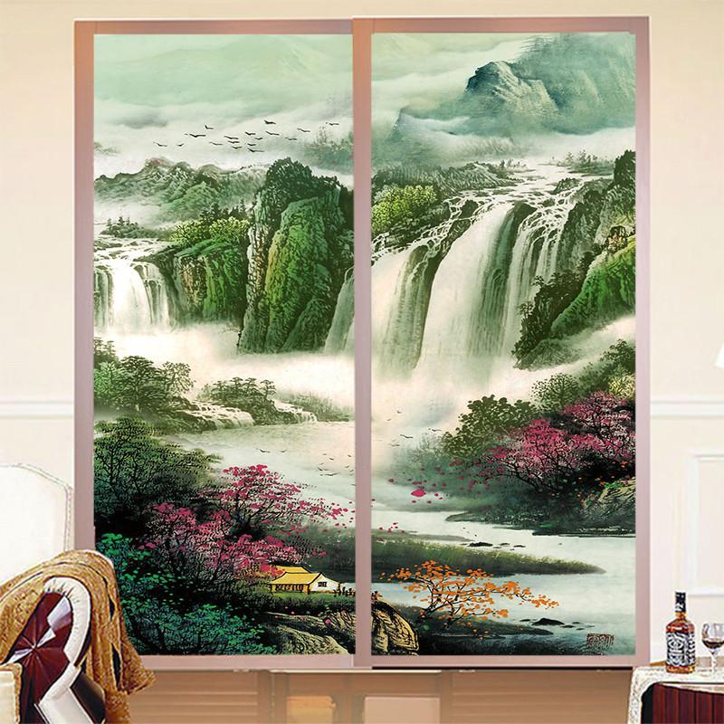 定制卫生间窗户玻璃贴膜山水画贴纸山水画竖版玻璃贴纸玄关山水画