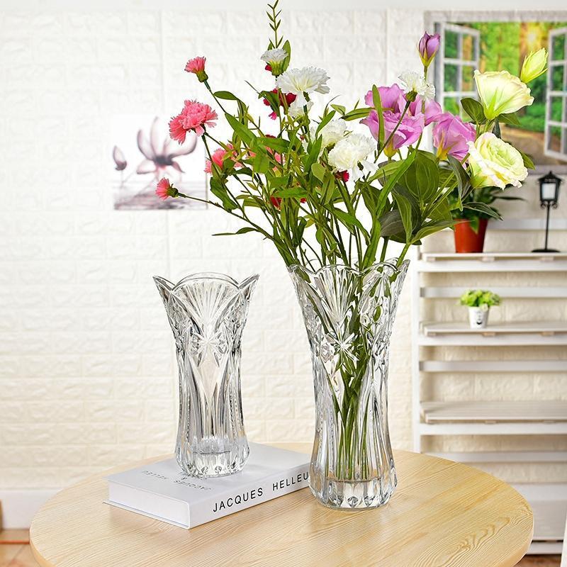 现代简约玫瑰花瓶百合透明客厅创意富贵竹水养水培家用玻璃特大号