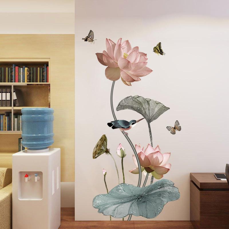 卧室3d立体墙贴画房间装饰品荷花玄关墙壁纸墙面墙上贴纸自粘墙纸