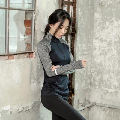 秋冬季瑜伽服上衣女健身长袖速干跑步半拉链T恤运动外套显瘦立领