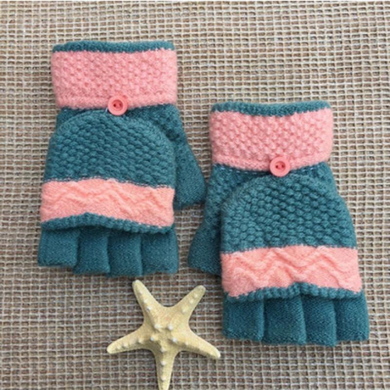 手套女冬季学生可爱女士半指加厚韩版冬骑行针织保暖臂套毛线露指