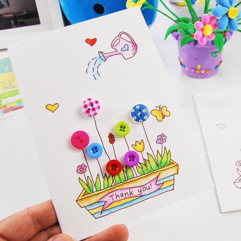儿童纽扣画立体贺卡diy材料包感恩节创意卡片教师节新年春节手工