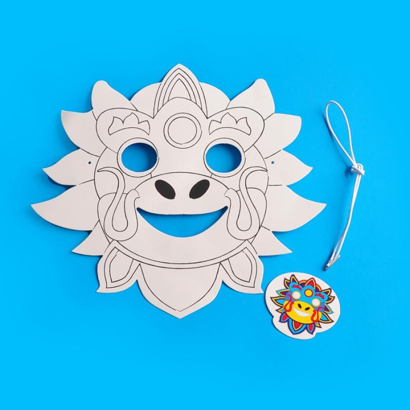 中国卡通动物幼儿园手工制作diy材料儿童涂色民族风