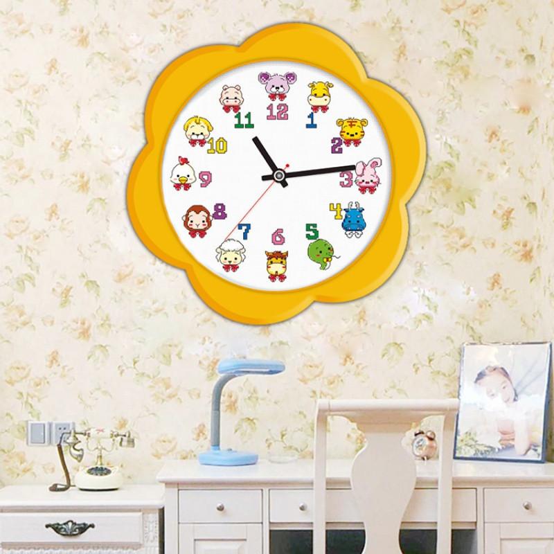 印花十字绣时钟表卡通动物漫十二生肖小猪熊儿童卧室