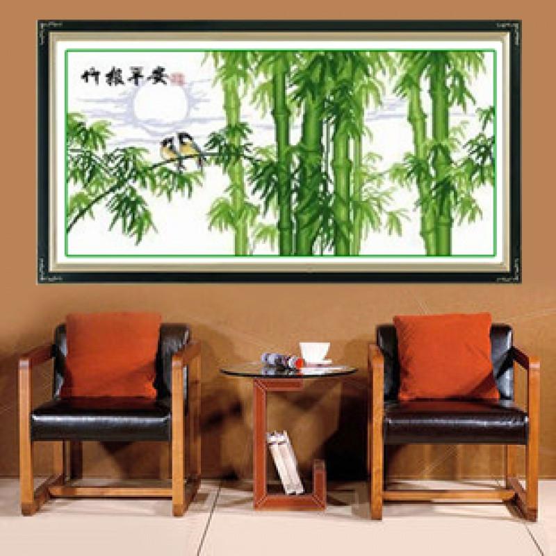 竹报平安十字绣竹子系列小幅风景线绣清新自然风2017客厅家用