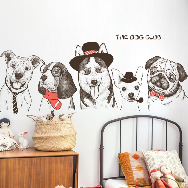 创意宠物店铺橱窗玄关装饰品墙贴画可爱儿童房卧室手绘狗狗墙贴纸