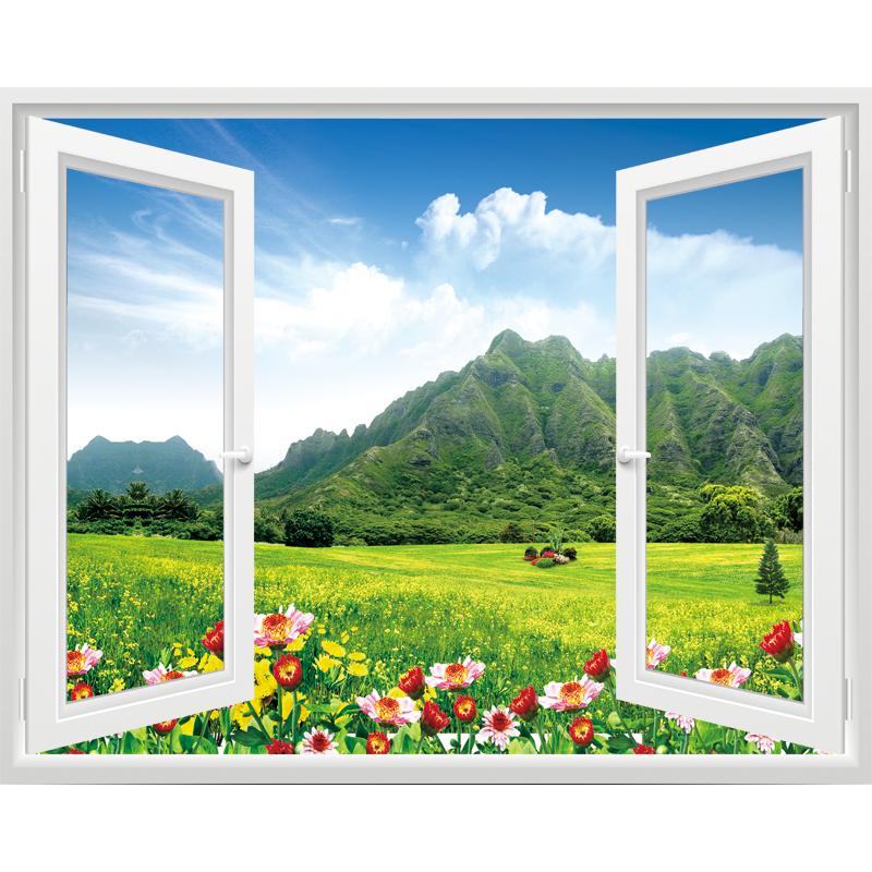 3d仿真立体假窗户墙贴纸客厅创意装饰墙贴画卧室风景墙面装饰