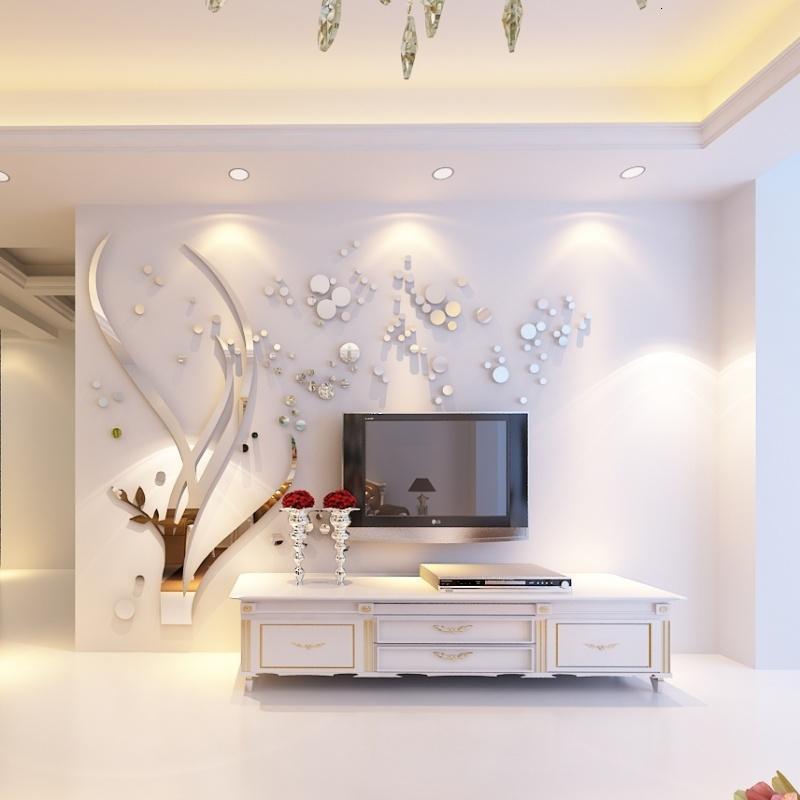 镜面3d水晶亚克力立体墙贴画 卧室客厅电视背景墙沙发