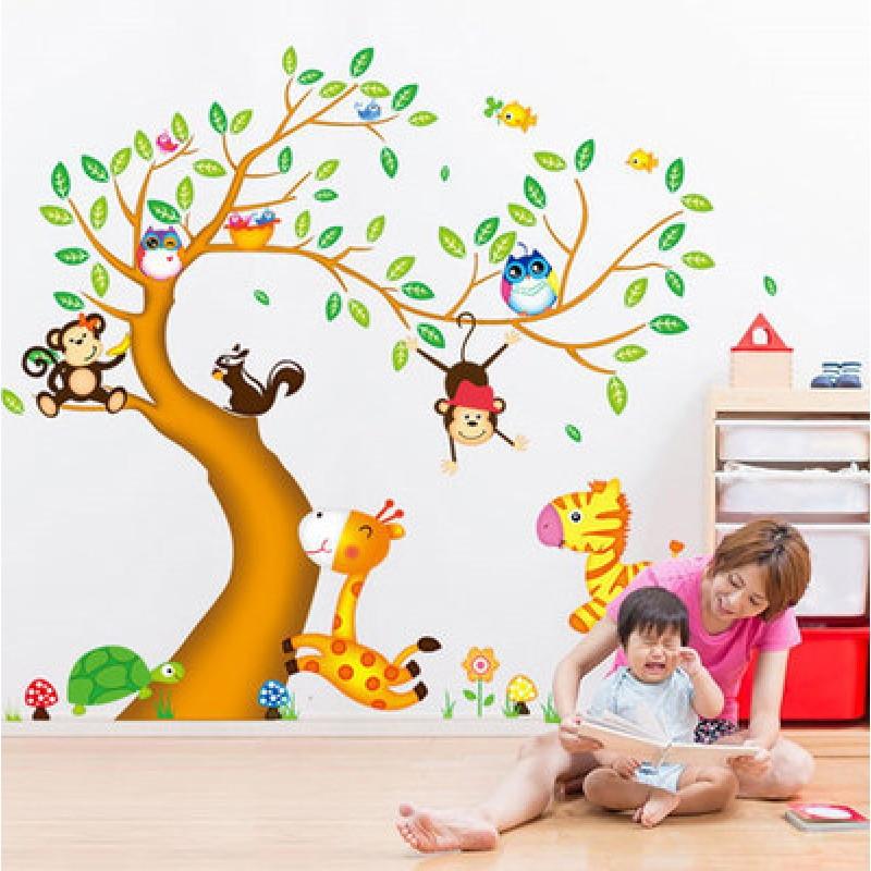 可移除长颈鹿动物儿童房幼儿园玻璃门窗卡通双面墙贴画墙贴纸