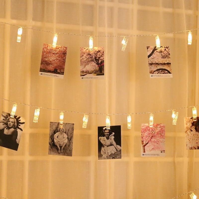 复古装饰led明信片墙照片墙装饰夹子麻绳挂饰卧室创意