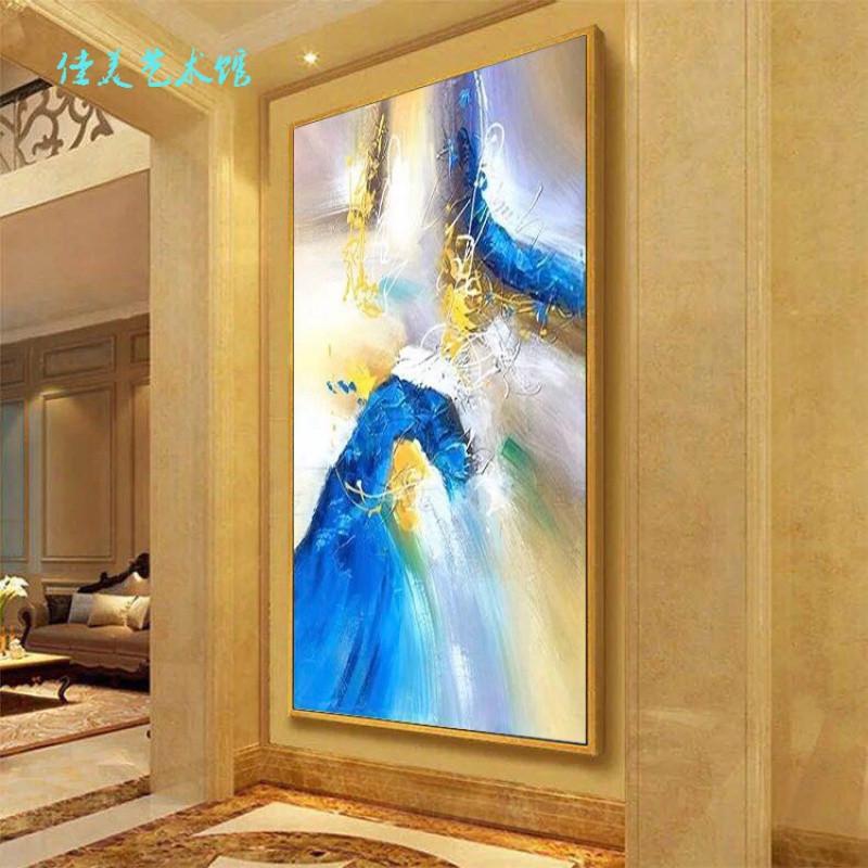 纯手绘北欧玄关装饰画竖版现代简约抽象油画走廊过道酒店客厅挂画