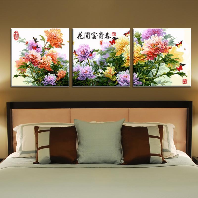 加厚框数字油画diy 客厅三联三拼风景情侣花卉手绘装饰画
