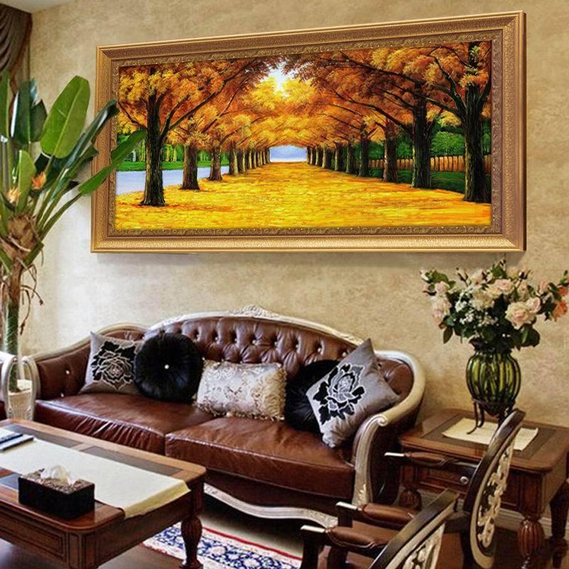 欧式客厅风景山水油画美式大气装饰画沙发背景墙挂画壁画黄金大道