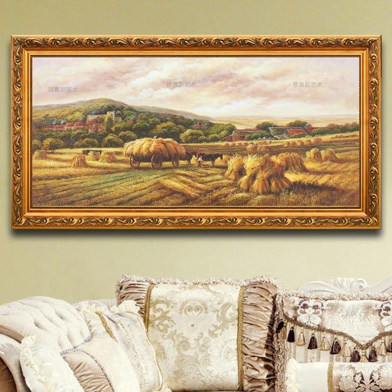 客厅油画欧式风景丰收季节手绘美式麦田装饰画餐厅挂画田园